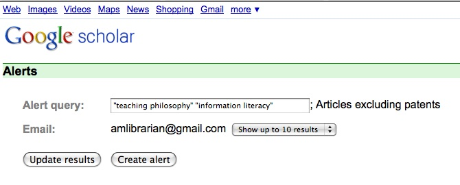 Google Scholar search alert, with articles only set