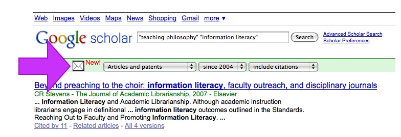 new search alert icon - Google Scholar result list