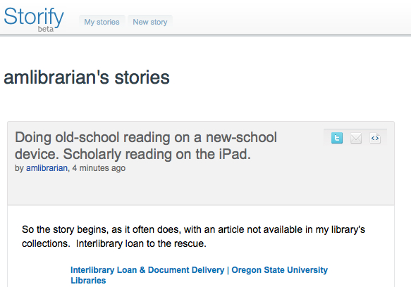 Screenshot of the top few lines of a story created using the Storify tool
