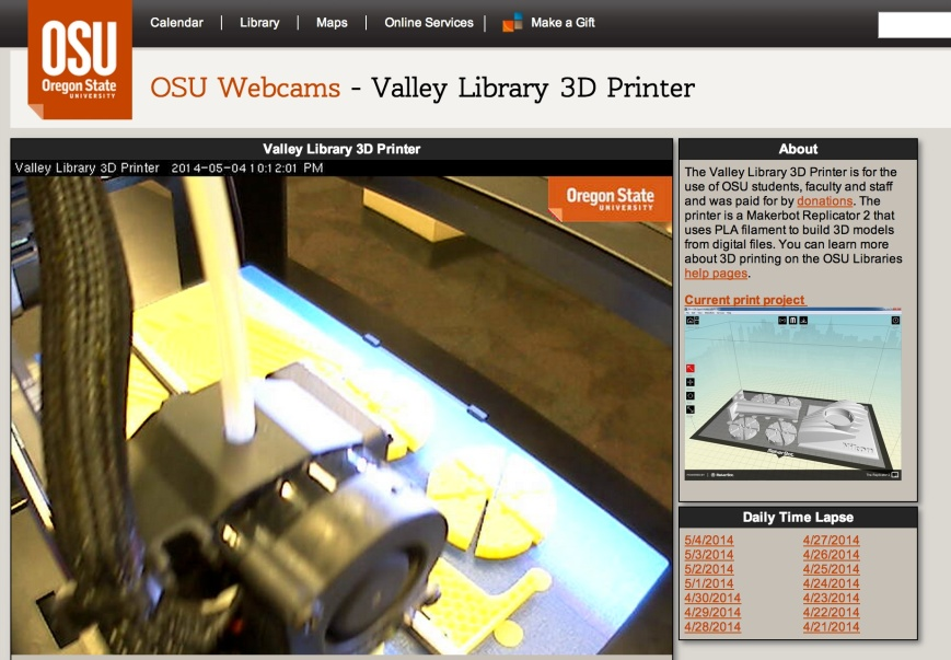 screenshot of the Oregon State University webcam showing the library's 3-D printer