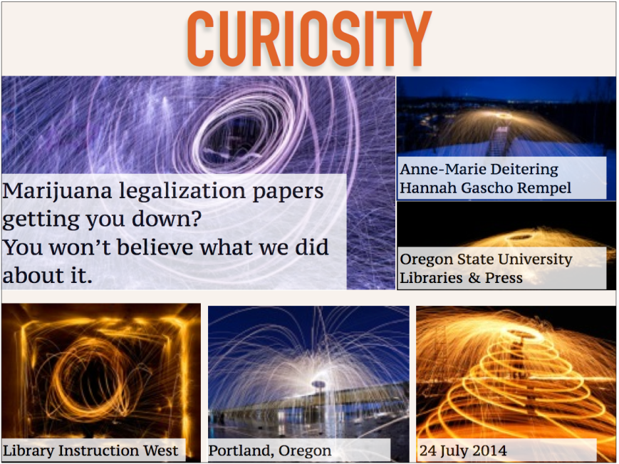 Title slide for a presentation. The word curiosity is displayed across the top. Several images of sparks are below.