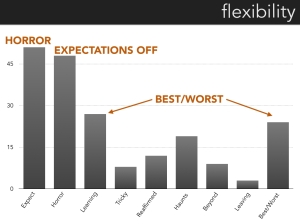 A bar chart indicating the prompts that generated the most utterances coded with the theme flexibility. The most common are Horror Story and a Time When Your Expectations Were Off.  The second tier are best/worst categories.